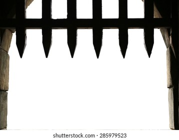Medieval castle gate with portcullis, with white background for copy space