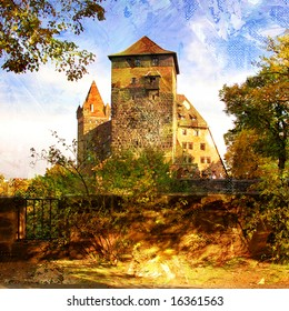 medieval castle in Germany - artwork in painting style