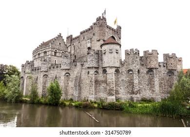 Medieval castle Gravensteen in the city of Ghent, Belgium