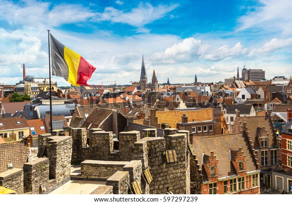 Medieval castle Gravensteen (Castle of the Counts) in Gent in a beautiful summer day, Belgium
