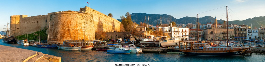 Medieval castle and harbor view in Kyrenia