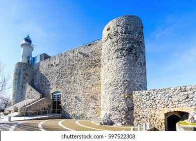 Medieval Castle and Lighthouse St. Ana in Castro Urdiales, Cantabria, Spain