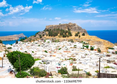 The medieval Castle Lindos and town on Rhodes Island, Mediterranean Sea, Greece