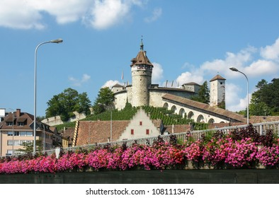 The medieval castle Munot in Swiss old town Schaffhausen, seen from bridge on Rhine with decoration red flower in summer day, Switzerland