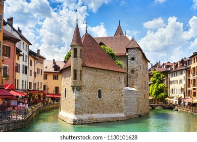 Medieval castle on the canal in the French city of Annecy resort. Department of Upper Savoy. France.
