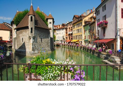 Medieval castle on the canal in the French city of Annecy resort. Department of Upper Savoy. Annecy, France 11 July 2016