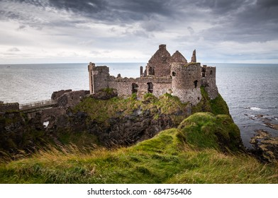 Medieval castle on the cliffs in Northern Ireland