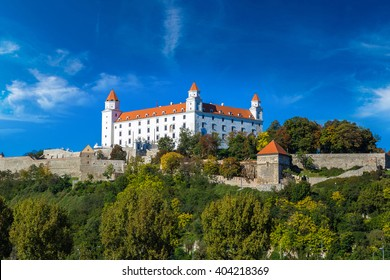 Medieval castle on a hill in a summer day in Bratislava, Slovakia