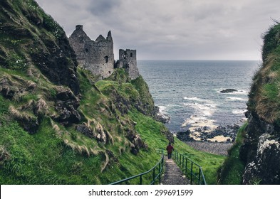 Medieval castle on the sea coast, Ireland