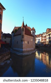 Medieval Castle And Prison In The Middle Of The Thiou Canal. The Place Is Now A History And Art Museum.