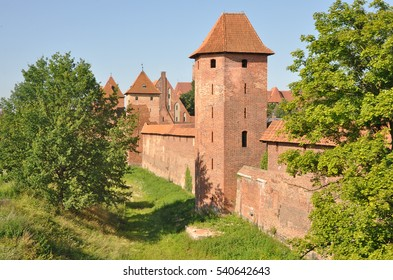 The medieval castle of red brick in Malbork, Poland.
