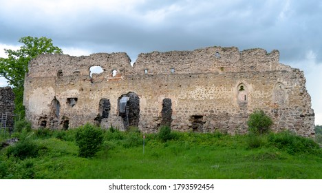 Medieval Castle Ruins in Latvia Rauna. Old Stoune Brick Wall of Raunas Castle Where Was Living Archbishop in Middle Age in Latvia.