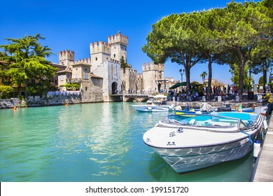 medieval castle Scaliger in old town of Sirmione . beautiful lake Lago di Garda, Italy