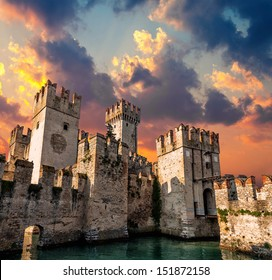 Medieval Castle Scaliger at sunset