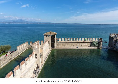 Medieval castle in Sirmione, Italy. Sirmione, northern Italy. medieval castle Scaliger on lake Garda.