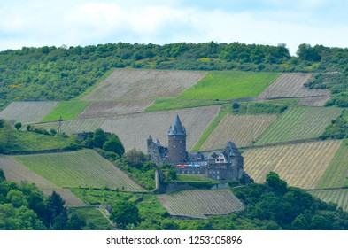 A medieval castle sits on the slope of a hill. It is surrounded by a pattern of tilled fields and forest. The sky is blue with white clouds.