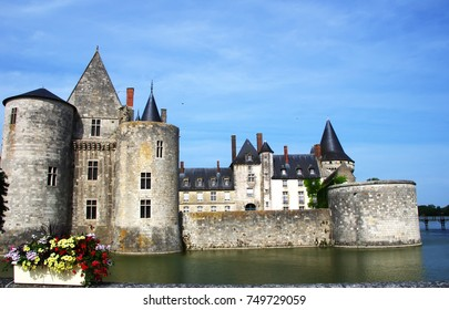 medieval castle Sully-sul-Loire. famous Loire valley river, France