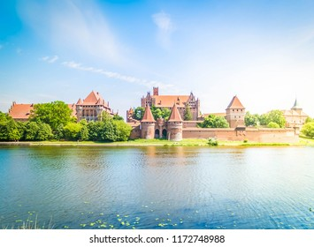medieval castle of Teutonic Knights in Malbork, Poland, retro toned
