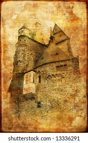 medieval castle - toned picture in retro style