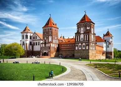 Medieval castle in village Mir in Belarus