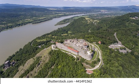 Medieval castle of Visegrad in the Danube bend - aerial photo taken from a drone