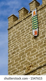 Medieval castle wall and flag