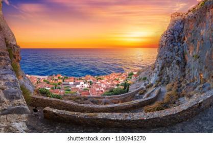 "The medieval ""castletown"" of Monemvasia, often called ""The Greek Gibraltar"", Lakonia, Peloponnese, Greece"