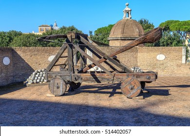 Medieval catapult in the tower of the castle of St. Angel in Rome
