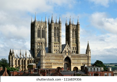 Medieval cathedral in Lincoln, a grand Gothic building on a sunny day in the summer.