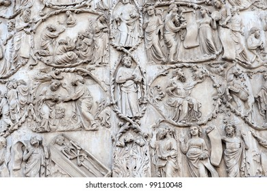 Medieval cathedral of Orvieto (Perugia, Umbria, Italy), bas-relief on the facade
