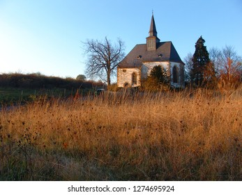 medieval chapel of the deserted village Eckweiler in Rhineland Palatinate on a sunny autumn day