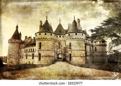 medieval Chaumont castle -  picture in retro style  (more castles in my gallery)