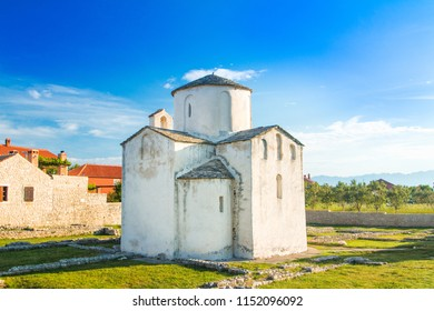 Medieval church of Holy Cross from 9th century and archaeological site in historic town of Nin, Dalmatia, Croatia