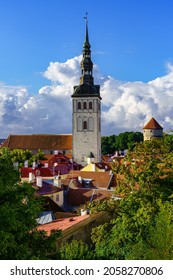 Medieval church Olaf in the old town of Tallinn Estonia.