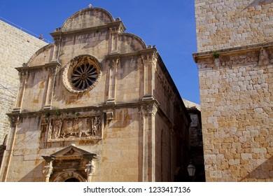 Medieval church in old city of Dubrovnik, Croatia