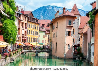 Medieval city of Annecy in the valley of the French Alps, France