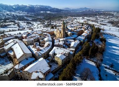 Medieval city - Apiro - Le Marche - Italy Italia - Drone aerial photography