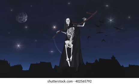The medieval city and death with a scythe