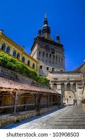 medieval city of sighisoara in transylvania, romania