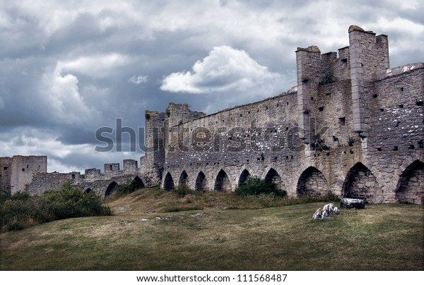 Medieval city wall in dark dramatic tones and colors.