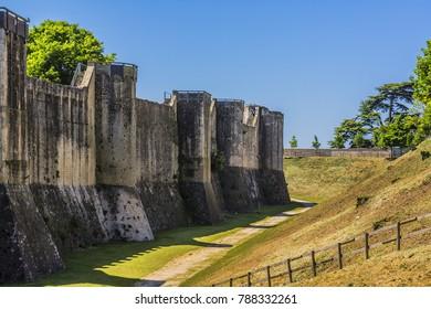 Medieval city wall in Provins. Provins - commune in Seine-et-Marne department, Ile-de-France region, north-central France. UNESCO World Heritage Site.