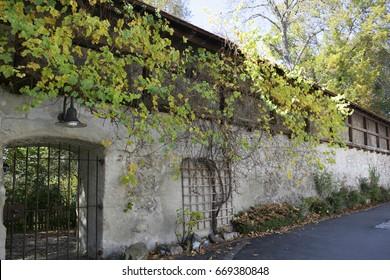 Medieval city wall in Schongau, Bavaria, Germany, Europe