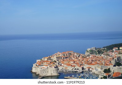 Medieval city walls and the Adriatic Sea, Dubrovnik, Croatia