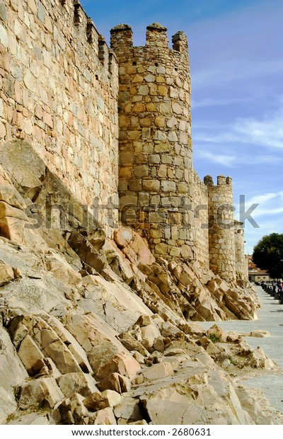 Medieval city walls in Avila Spain.  Considered the best preserved in Europe.