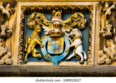 Medieval coat of arms in Bodleian library, Oxford, United kingdom