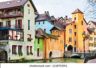 Medieval colorful architecture on the canal in Annecy, France.