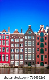 Medieval cute houses in Amsterdam the Netherlands