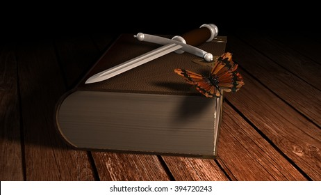 Medieval dagger and Butterfly on old leather book on wooden table in candleligh