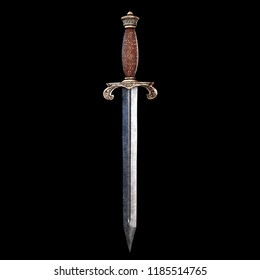 Medieval dagger isolated on black background
