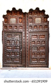 Medieval door in the church of Burgo de Osma, Soria  Spain,